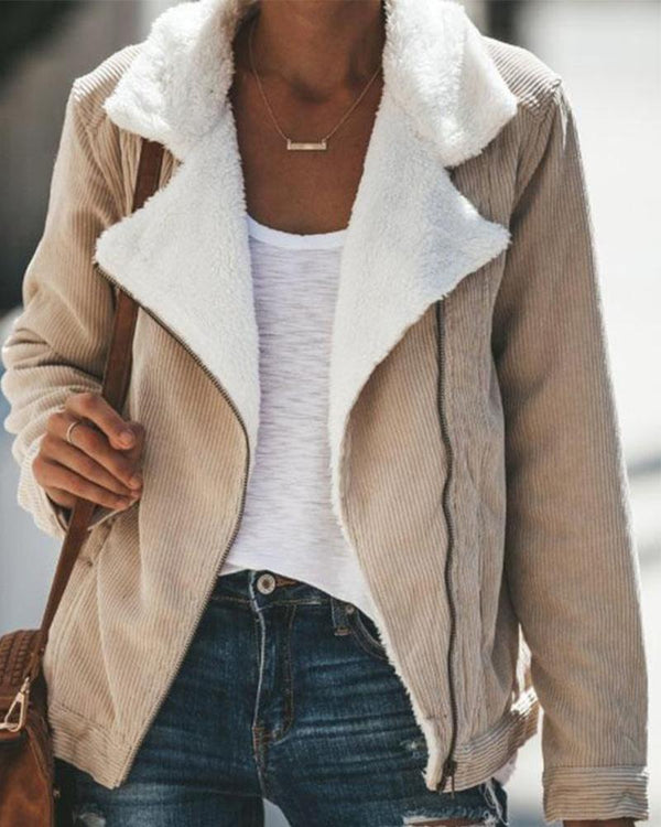 Zip-Up Double Layer Faux Shearling Jacket
