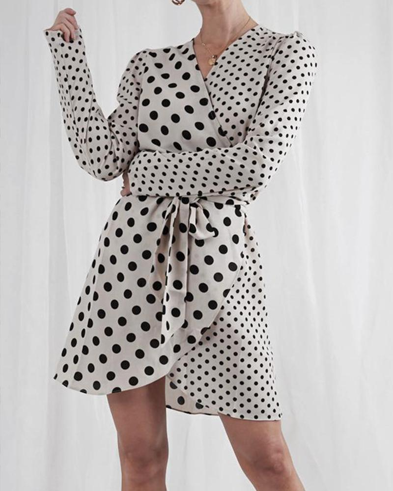 V-neck Dot Design Patchwork Dress