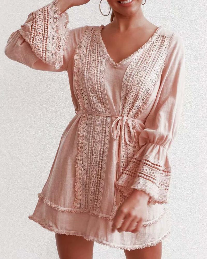 Open Back Ruffle Sleeve Dress
