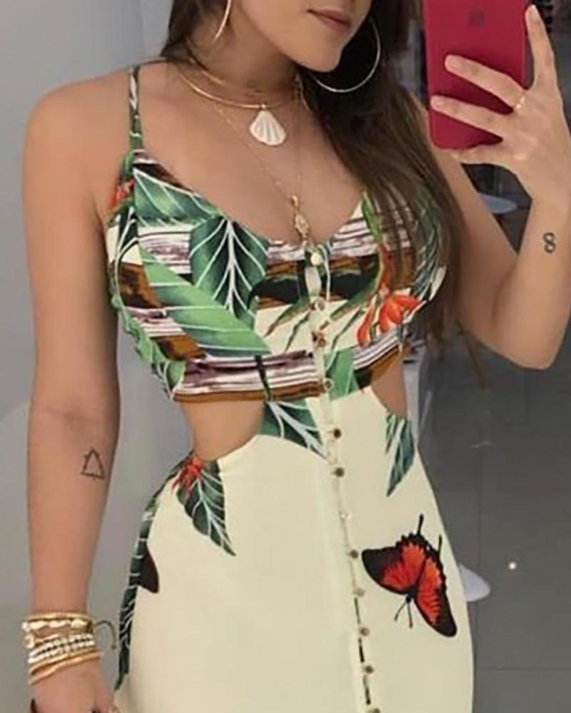Spaghetti Strap Tropical Print Cutout Dress