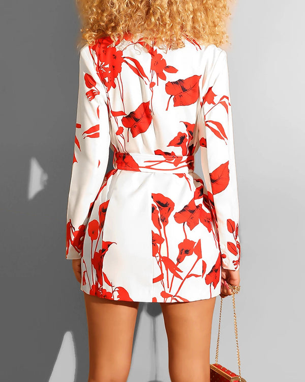 Floral Long Sleeve Blazer Dress