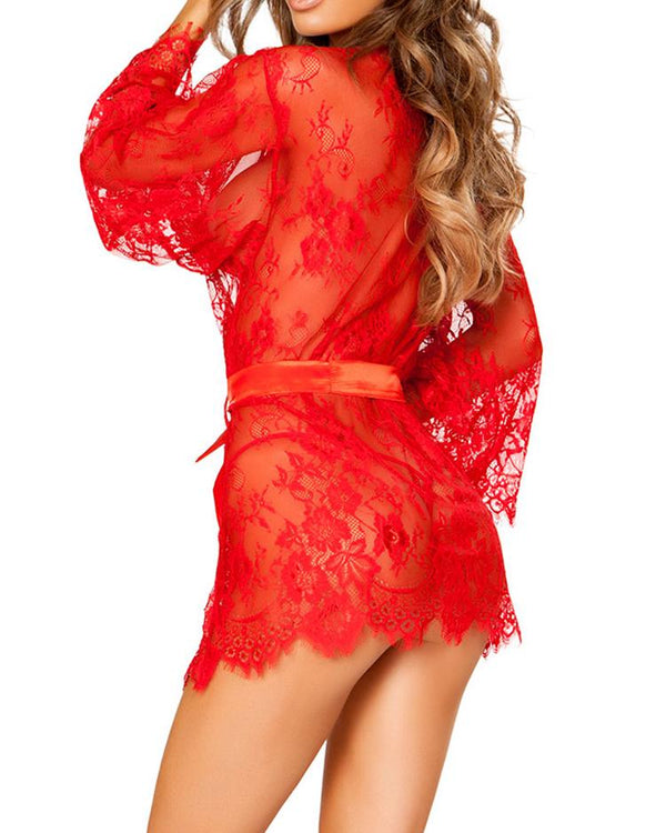 Seductive Lace Mesh Belted Robe Lingerie