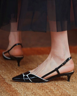 Pointed-toe Color Block Hollow-out High Heels