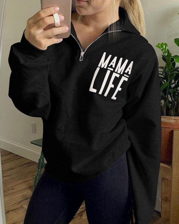 Mama Life Zip Neck Top