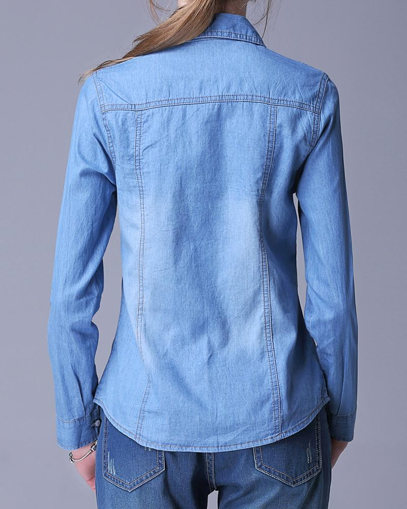 Casual Denim Blouse With Pockets