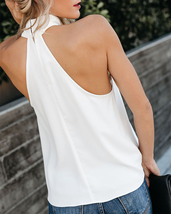 Solid Sleeveless Halter Top