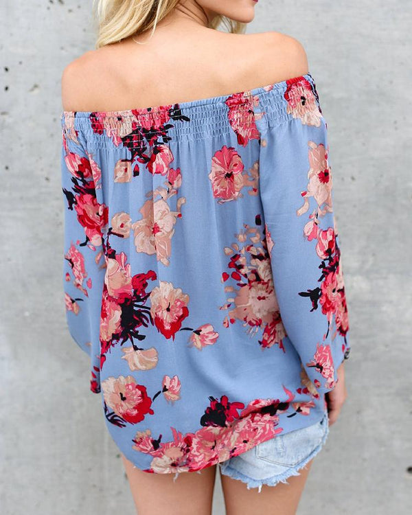 Fashion Off Shoulder Printed Blouse