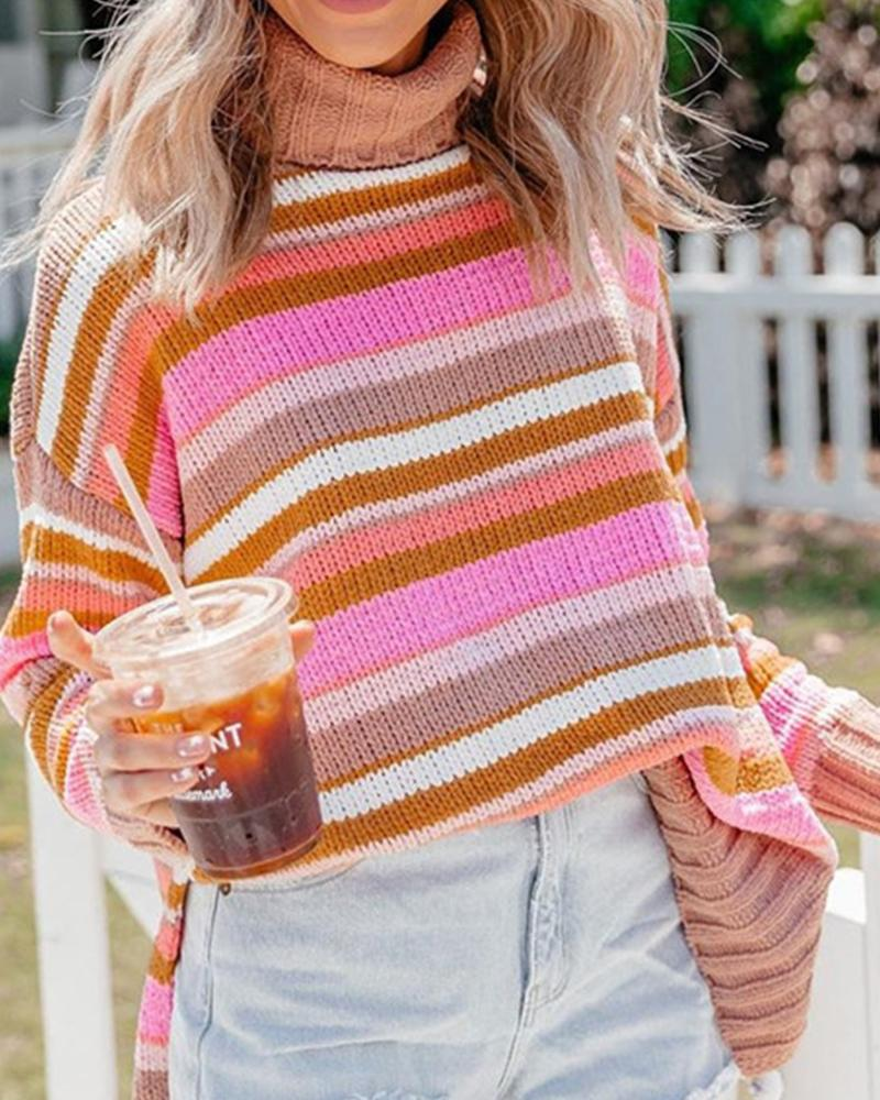 High Neck Knit Sweater With Slits