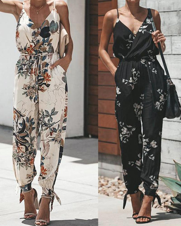 Printed sexy halter tether pocket sling V-neck jumpsuit