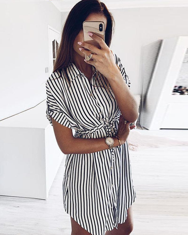 Classic striped waist casual short-sleeved dress