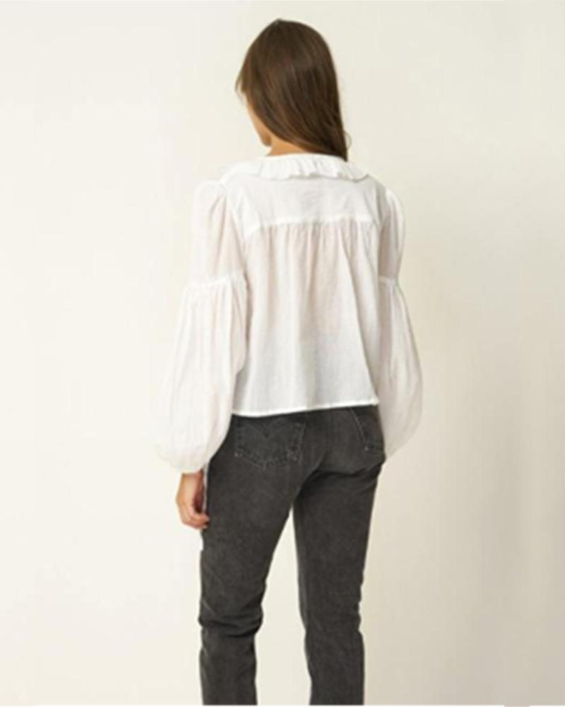 Ruffled lace-up long-sleeved women's blouse