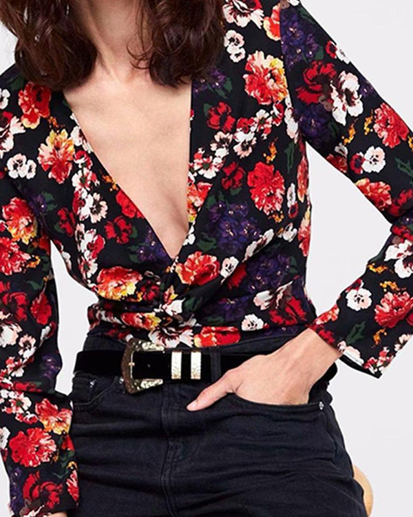 Deep Neck Floral Blouse