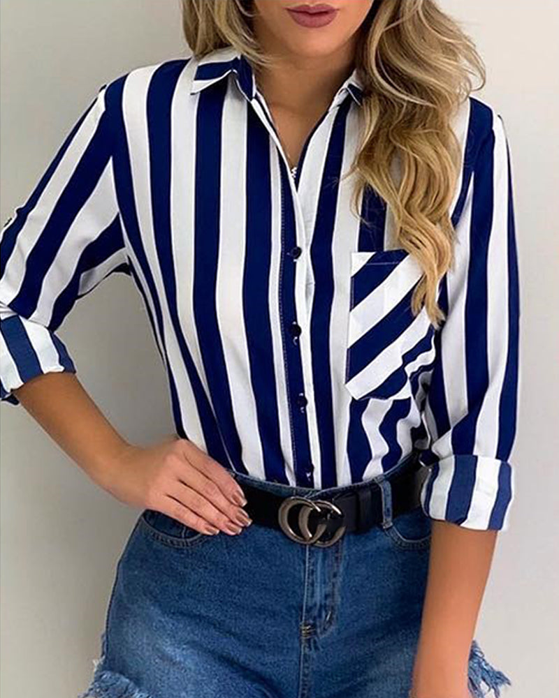 Striped Pocket Button Up Casual Shirt