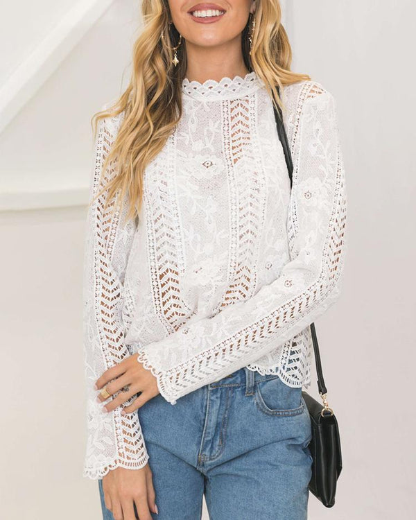 White Lace Hollow Out Casual Blouse Sexy Top