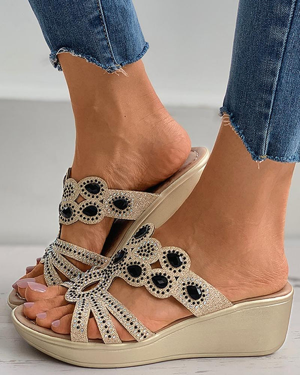 Rhinestone Cutout Peep Toe Wedge Sandals