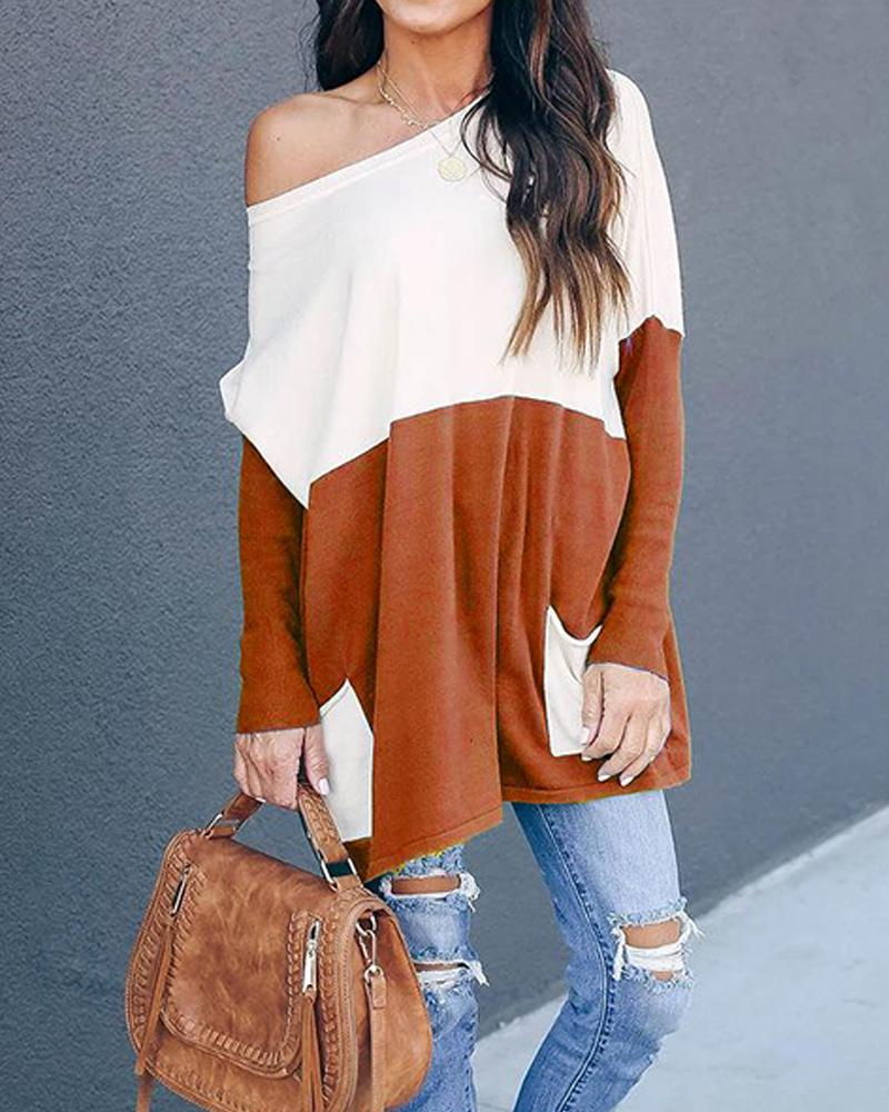 Oversized Contrast Double Pocketed Top
