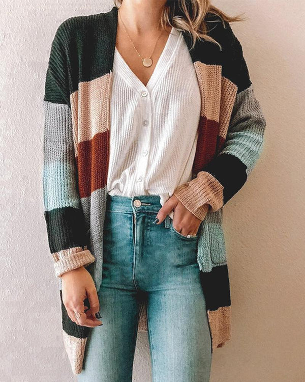 Long Sleeve Patchwork Coat
