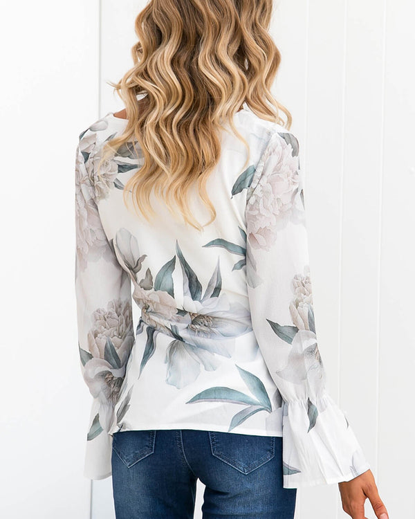 V-neck Flared Sleeve Floral Printed Blouse