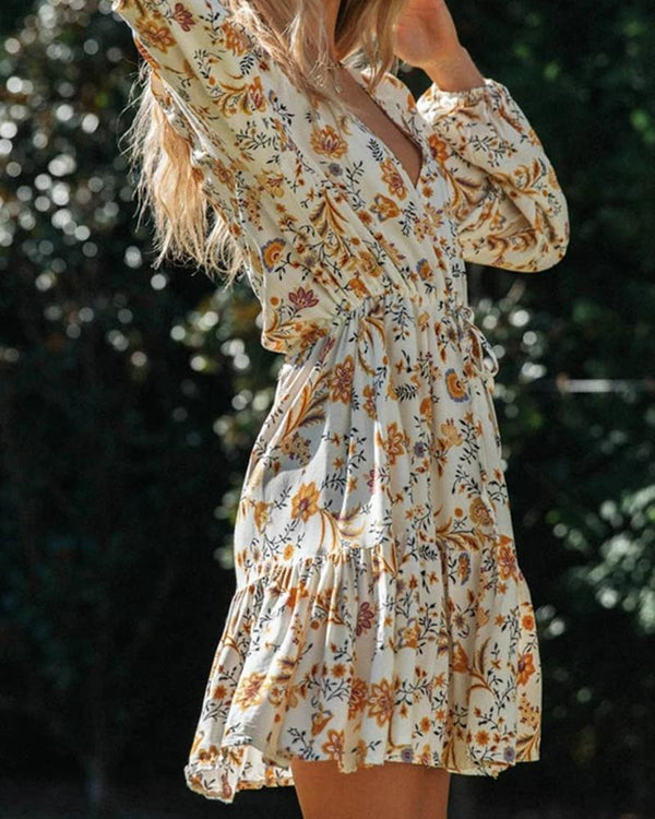 Floral Pleated Long Sleeve Dress