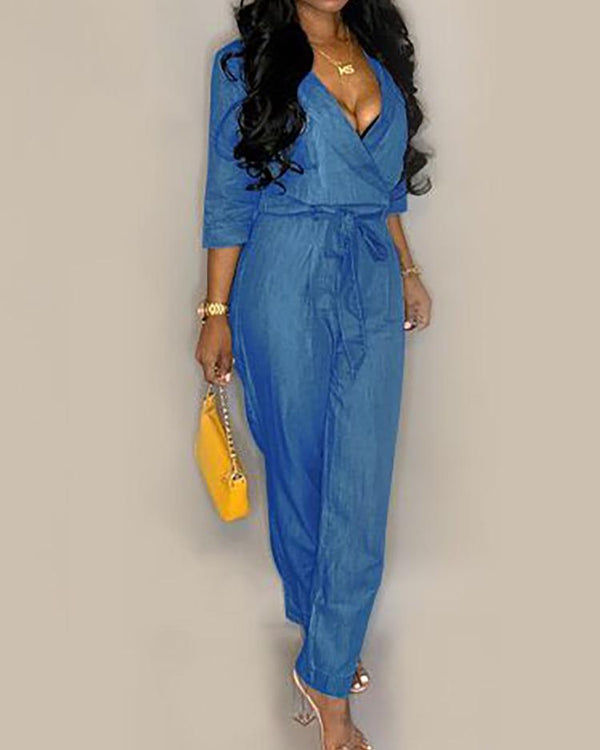 V-Neck Belted Denim Casual Jumpsuit