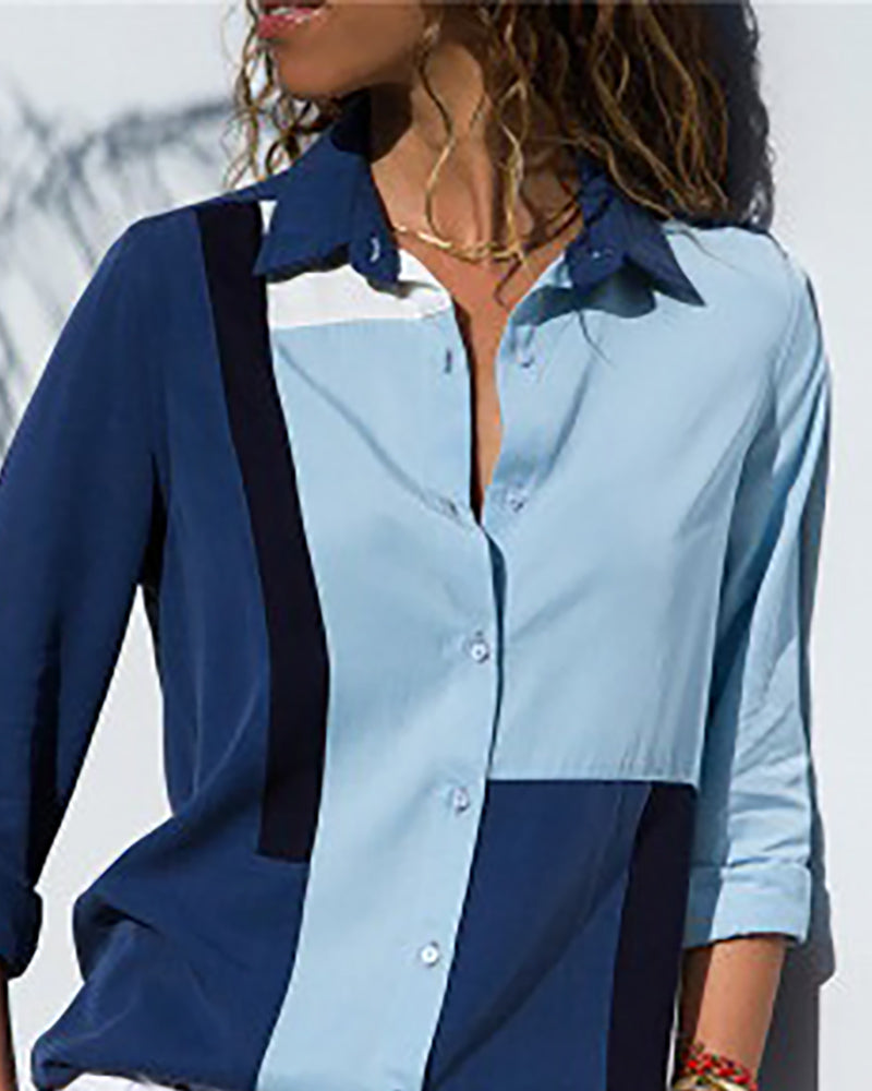 Contrast Color Long Sleeve Casual Shirt