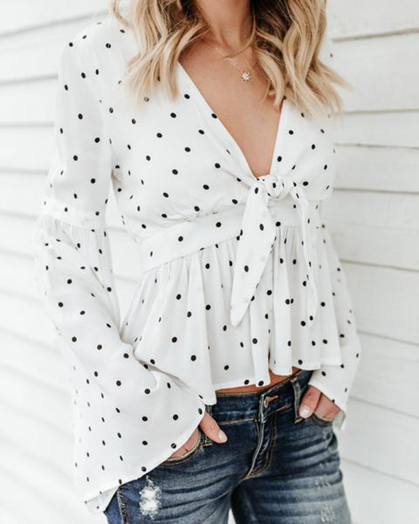 Deep V Long Sleeve Trumpet Sleeve Ruffled Top