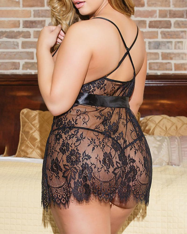 Spaghetti Strap Eyelash Lace Dress With Panty