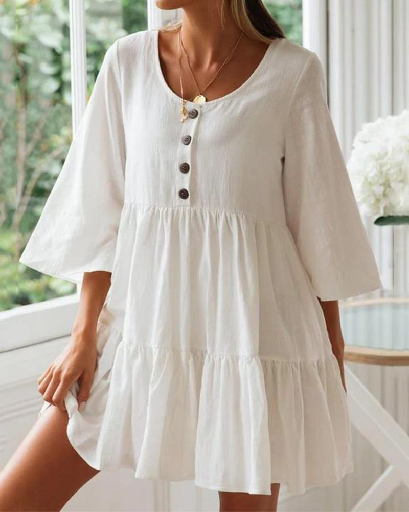 Buttom Down Swing Dress
