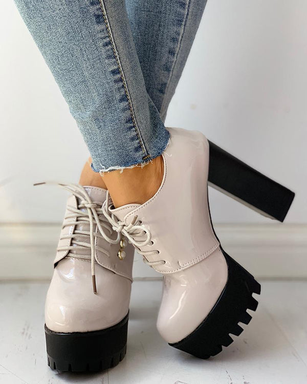 Solid PU Lace-Up Platform Chunky Heels