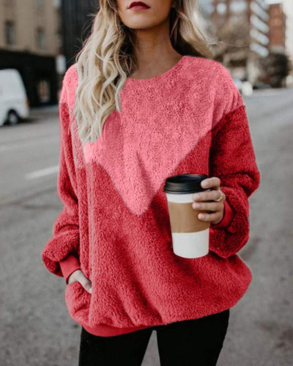 Colorblock Round Neck Casual Sweatshirt