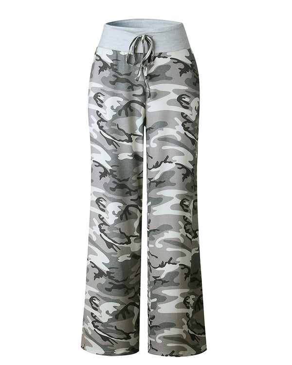 Camouflage Print High Waist Casual Pants