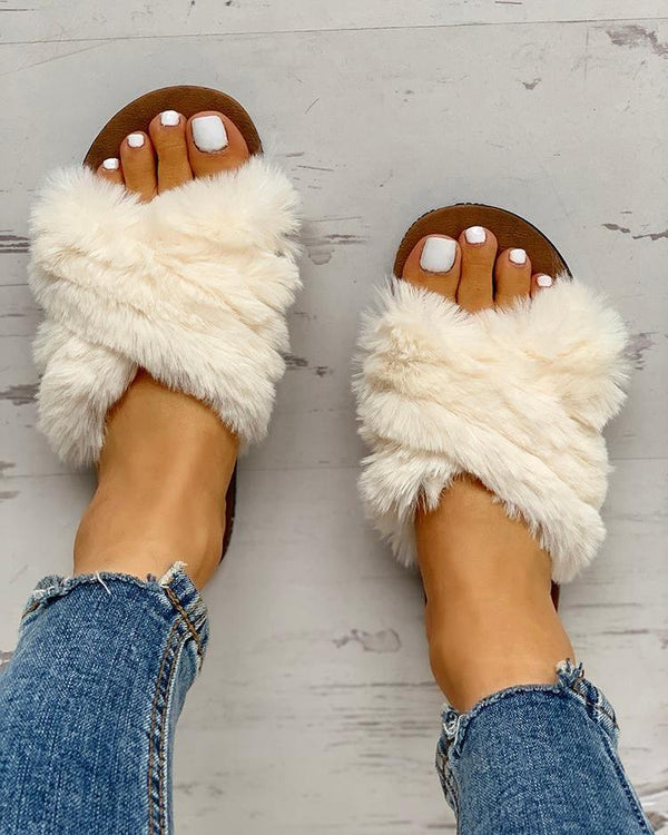 Fluffy Design Crisscross Detail Flat Shoes