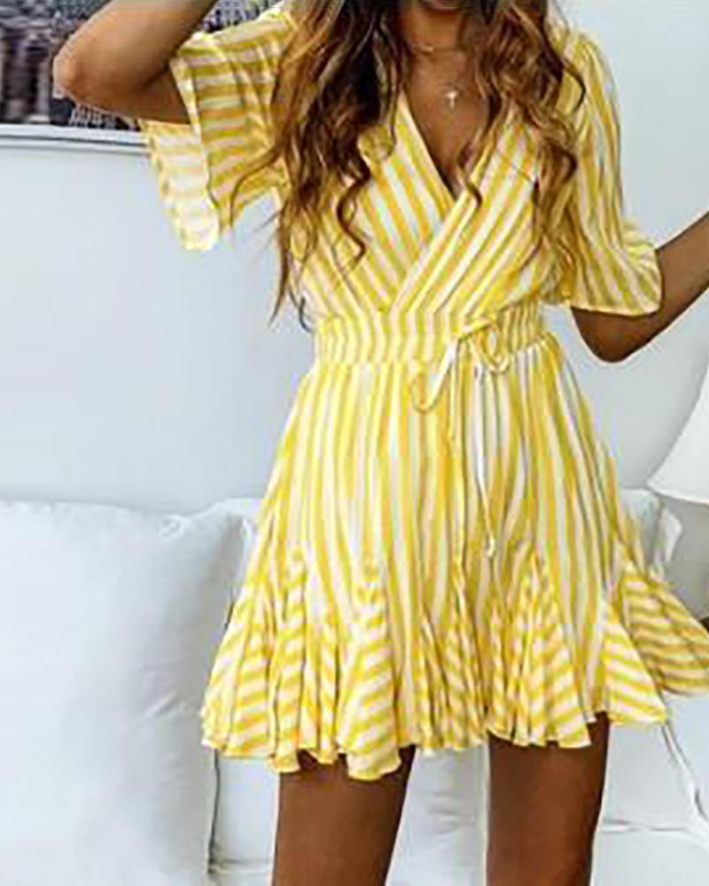 Fashion Women's A-line casual striped short-sleeved dress
