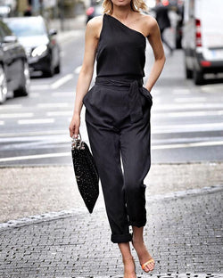 Solid One Shoulder Tie Waist Jumpsuit
