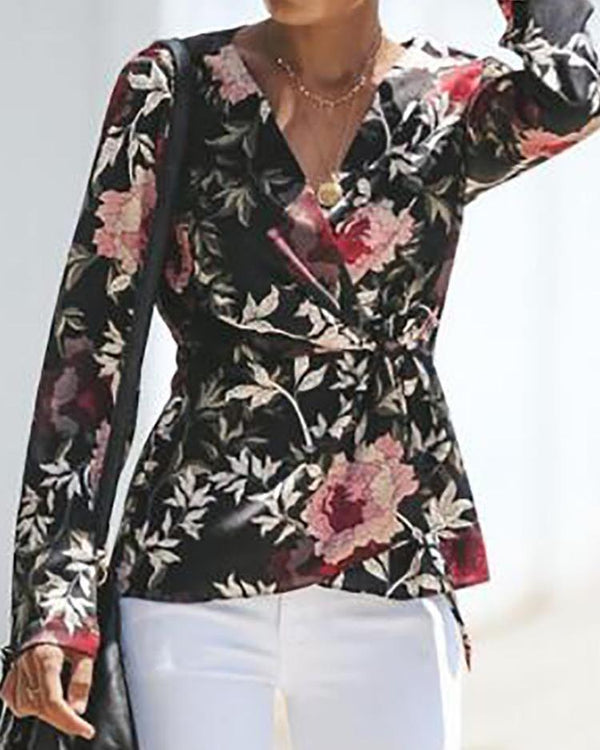 Floral Print Wrap Knot Side Blouse