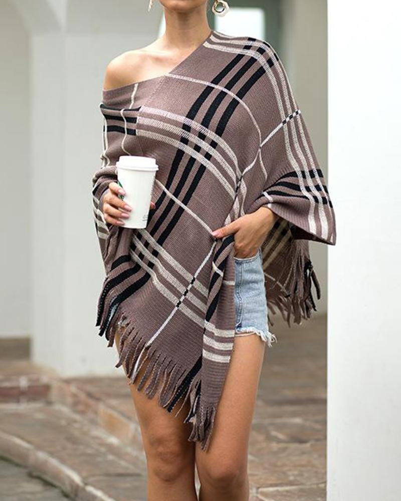 V Neck Tassel Hem Cape Top