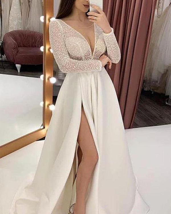Deep V High Slit Maxi Dress
