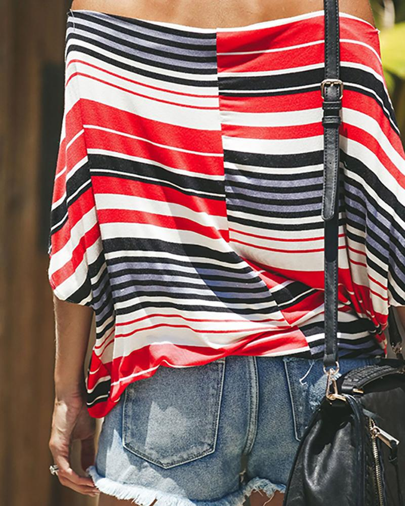 One-neck striped stripped off-shoulder print T-shirt