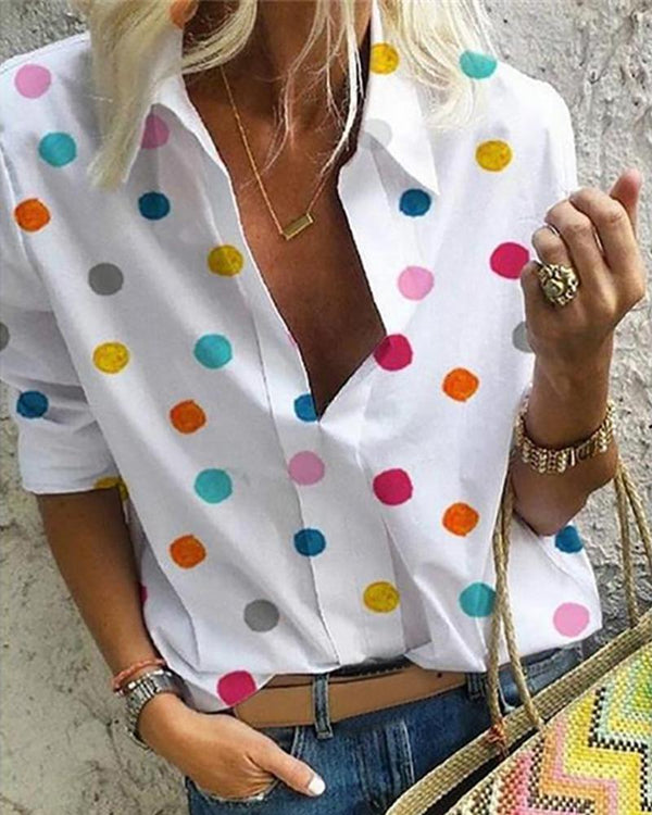 Colorful Dot Long Sleeve Casual Shirt