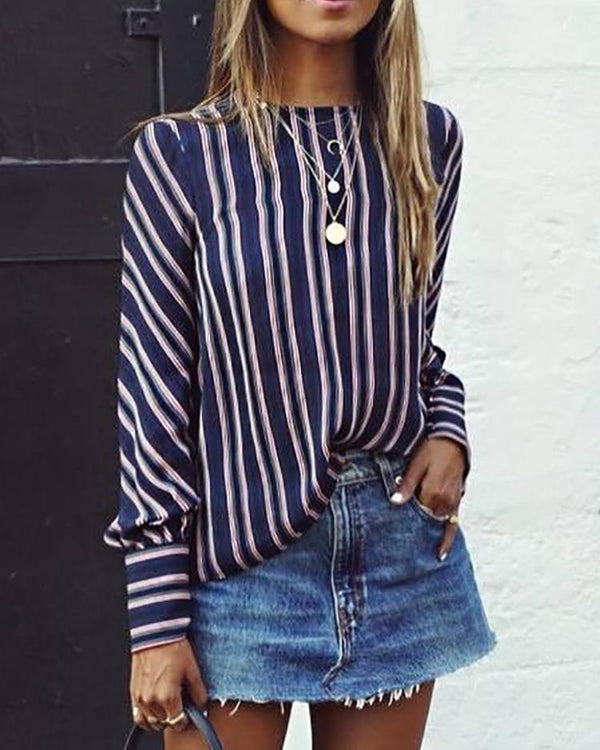 Contrast Stripes Long Sleeve Oversized Blouse