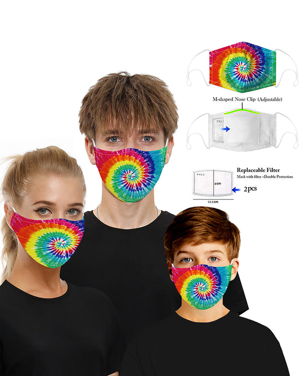 Tie Dye Print Mouth Mask Breathable Washable And Reusable