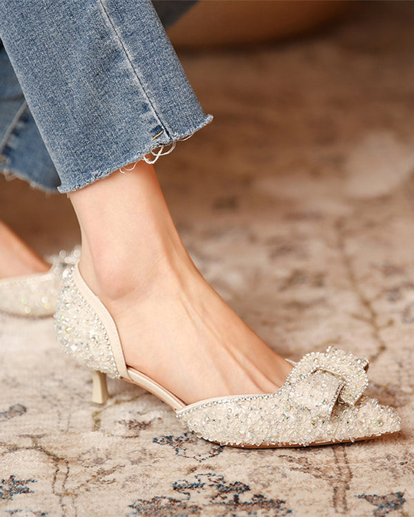 krystal Glitter Pointed-toe Low Cut High Heel Sandals