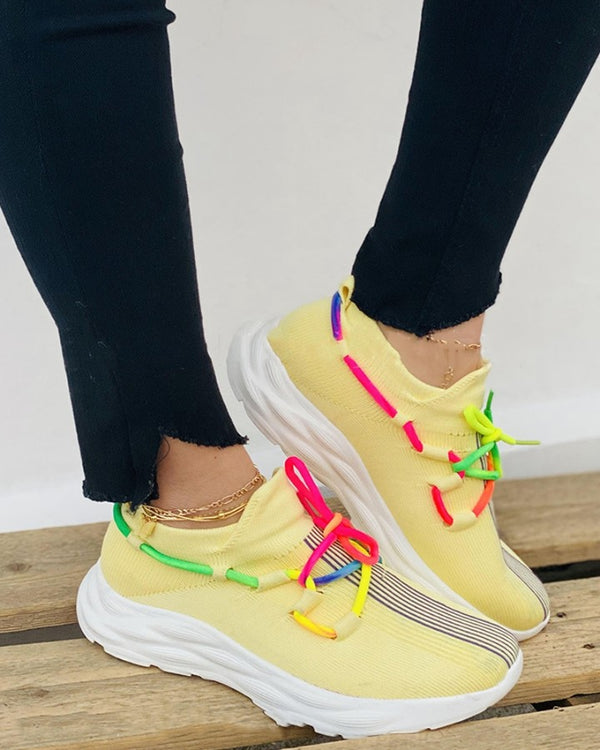 Rainbow Multicolor Lace-up Round-toe Breathable Sneakers