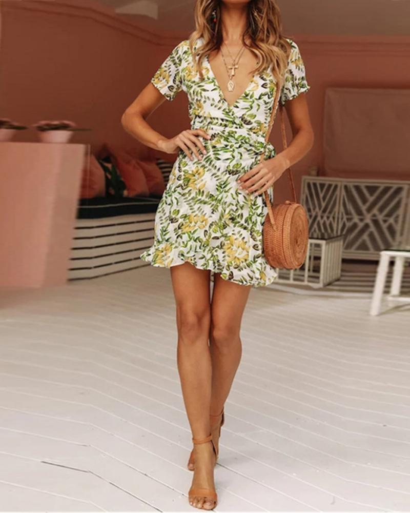 Fashion Print Short Sleeve Sexy Deep V-neck Dress