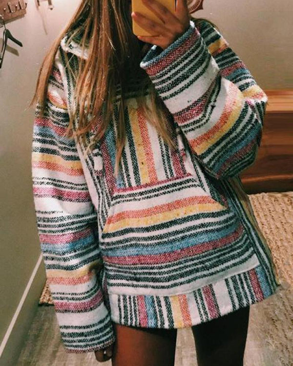 Colorful Stripes Oversized Hoodie
