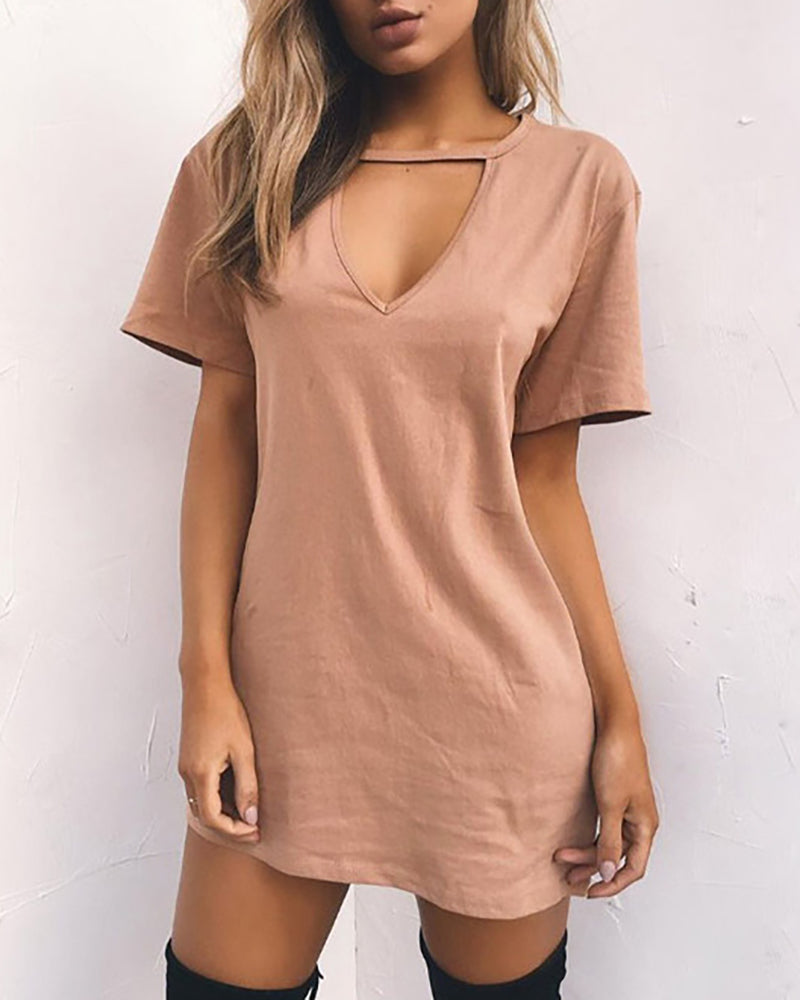 Deep V-neck Short-sleeved Loose Dress