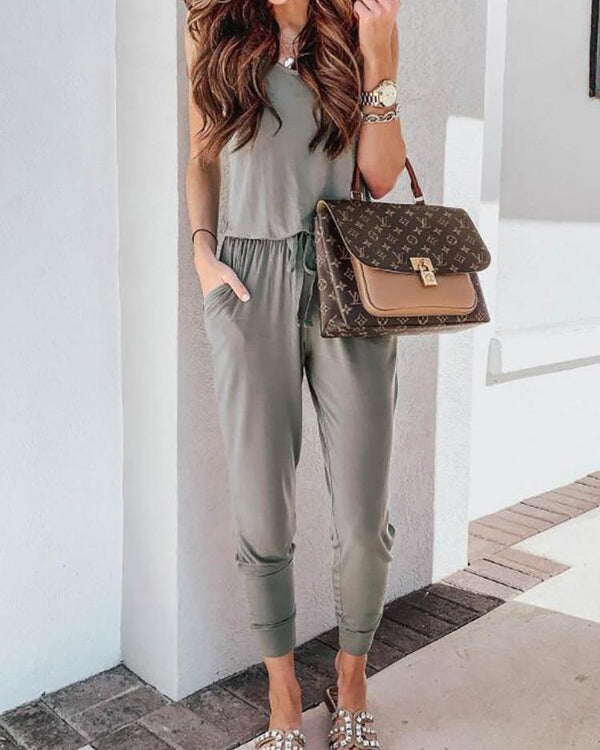 Round Neck Casual Vest Jumpsuit