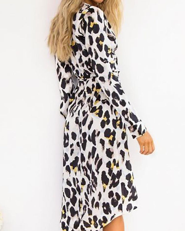 Leopard Print Wrapped Irregular Belted Dress