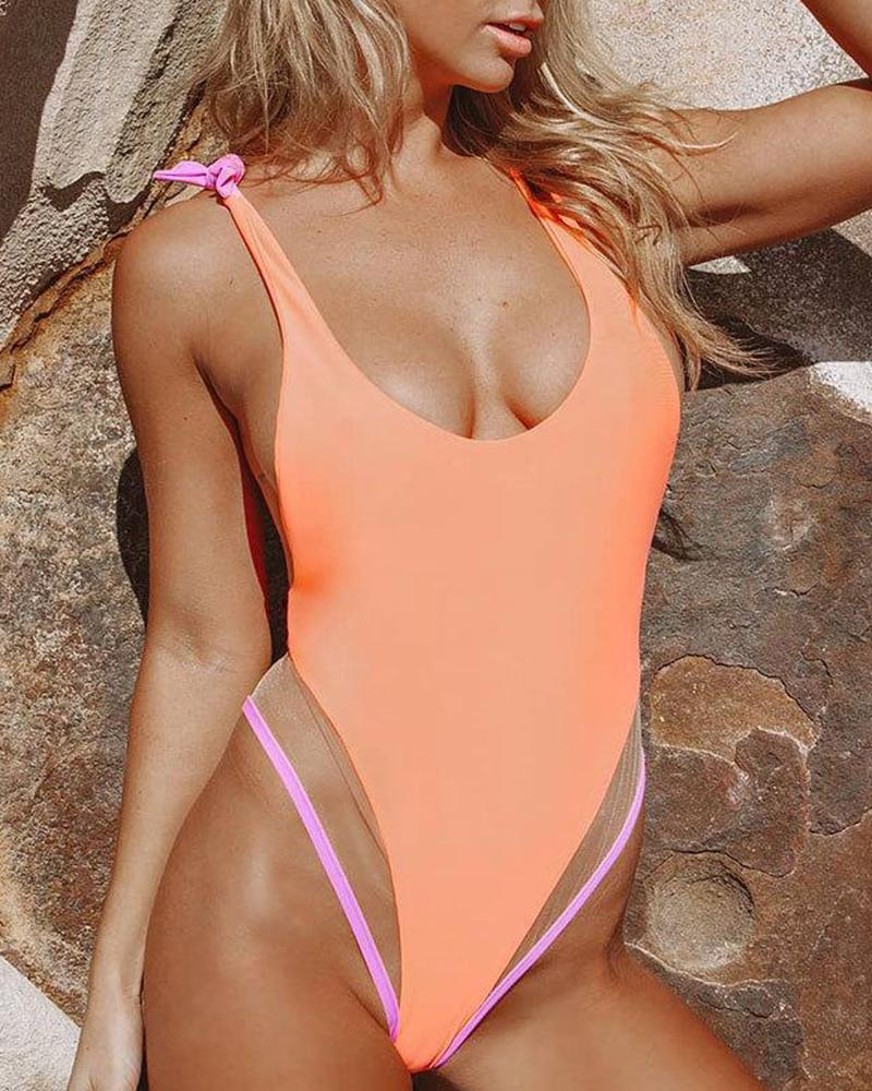 Low Cut One-Piece Swimsuit
