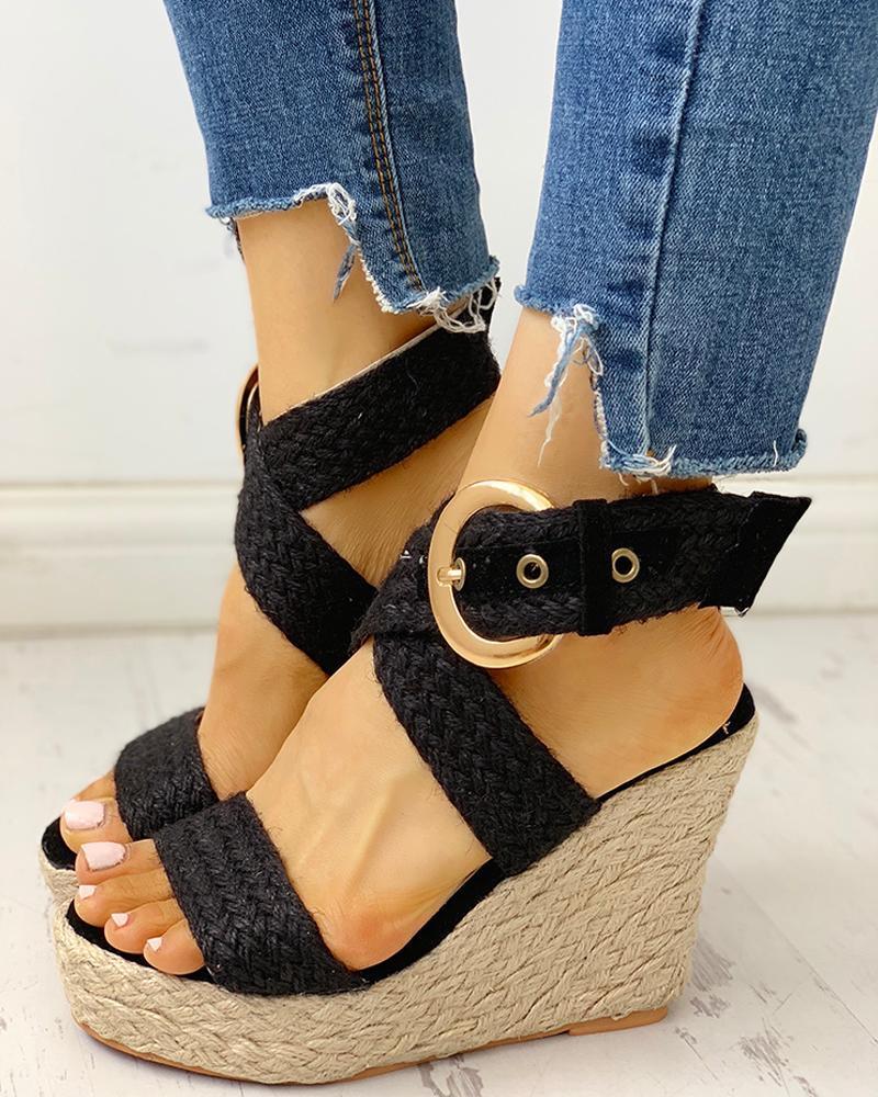 Eyelet Buckled Braided Espadrille Wedge Sandals